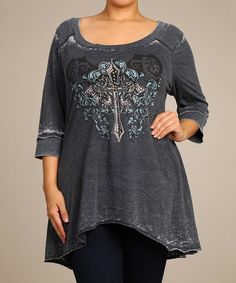 Look what I found on #zulily! Charcoal Cross Scoop Neck Top - Plus by Urban X #zulilyfinds