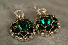 Emerald Crystal Earrings by PiccolinaJewelry on Etsy, $32.00