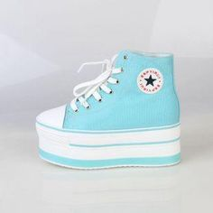 Platform sneakers Pastel Shoes, Denim Boots, Shoe Closet, Platform Sneakers, Unique Outfits, Creepers, Chuck Taylor Sneakers, Cute Shoes, Chuck Taylors