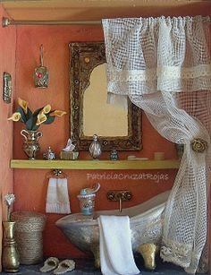 Cuadro de Baño con miniaturas estilo árabe.