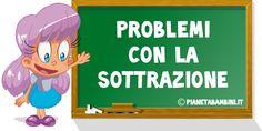 Una raccolta di 40 problemi con la sottrazione per bambini della classe prima e seconda della scuola primaria da consultare online o da stampare in PDF