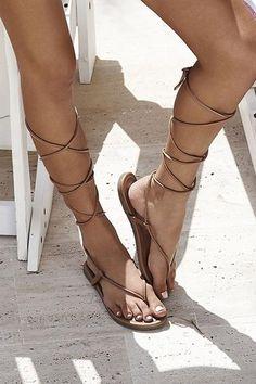 PilyQ gladiador sandalia Tan