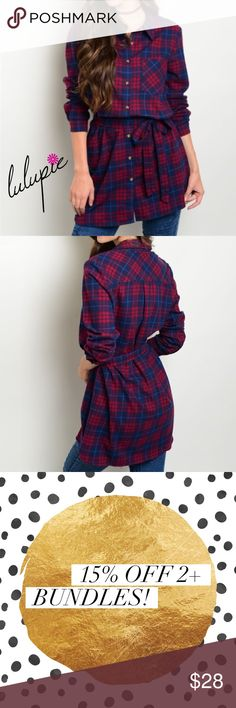 """✳️SALE✳️Long Sleeve Plaid Button Down Top Long sleeve button down plaid shirt with self tie belt. Made of 100% cotton.  Measurements for small: L: 36"""" B: 38"""" W: 40"""" Bchic Tops Button Down Shirts"""