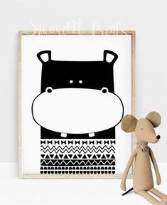 This Hippo nursery animal art makes a lovely scandinavian nursery room decor in your home or a unique baby shower gift. You can find more aztec nursery monochrome art print ideas in SquareM Nursery Black and White Section: http://etsy.me/2oT0yIl This is a digital file, ready for