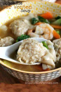 Homemade Wor Won Ton Soup - Spend With Pennies Wonton Recipes, Soup Recipes, Cooking Recipes, Recipies, Wor Wonton Soup, Wonton Soup Broth, How To Make Wontons, Bok Choy Recipes, Asian Recipes