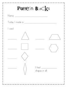Mrs. Wills Kindergarten: Math Work Stations Blog Party Chapter 7 Geometry.  pattern blocks response page
