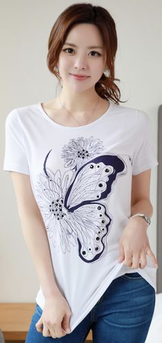 StyleOnme_Butterfly Floral Illustration T-shirt #butterfly #flower #tee #feminine #koreanfashion #kstyle #kfashion #springtrend #dailylook