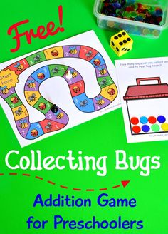 Collecting Bugs Addition Game for Preschoolers - free printable - What a great kids activity to go along with any bugs theme Preschool Math Games, Free Activities For Kids, Math Games For Kids, Kindergarten Games, Free Preschool, Preschool Printables, Preschool Learning, Preschool Activities, Counting Activities