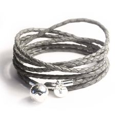 Items similar to Grey braided leather wrap bracelet, silver charm and personalized tag on Etsy