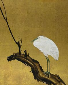 Heron on a Tree Trunk. The Cleveland Museum of Art Japanese Bird, Japanese Screen, Korean Art, Asian Art, Great Paintings, Landscape Paintings, Zen Brush, Feuille D'or, Japan Painting