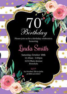 17 th Birthday Invitation For Women. 70th Birthday Party Ideas For Mom, 70th Birthday Parties, 75th Birthday, Mom Birthday, Birthday Celebration, Birthday Logo, 90th Birthday Invitations, Diy Invitations, Floral Invitation