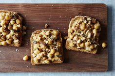 Community Picks -- Beans-- Mushroom and garbanzos on toast with cider and thyme.