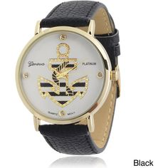 Geneva Platinum Nautical Rhinestone Accent Faux Leather Strap Watch (530 UAH) ❤ liked on Polyvore featuring jewelry, watches, bracelets, rhinestone jewelry, nautical watches, geneva wrist watch, dial watches and nautical jewelry