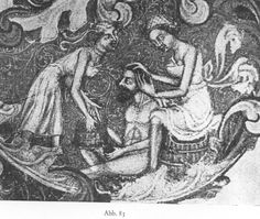 Bathhouse Keepers of late Medieval, Bohemia, wearing only undergarments. I am surprised that it is not the wealthy man's own male-servants that would accompany him to the bathhouses and attend to his skin, as was the practice in the Roman empire. (That is a back-scrubber in the man's lap.)