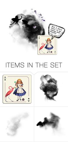 """""""But I don't want to go among mad people!"""" by makkachin-the-fabulous ❤ liked on Polyvore featuring art, contest, Alice, aliceinwonderland and artexpression"""