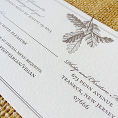 Our #NorthernCalifornia inspired #letterpress design Oak, as shown by this RSVP card from a bridal stationery suite