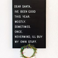 Merry Christmas to all my friends and ers who celebrate This was what I wanted most for Christmas this year a letterboard! What was your favorite Christmas gift - Humor Felt Letter Board, Felt Letters, Word Board, Quote Board, Message Board, English Frases, Centerpiece Christmas, Christmas Humor, Merry Christmas