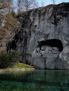 The Lion Monument (German: Löwendenkmal), or the Lion of Lucerne, is a sculpture in Lucerne, Switzerland c. Places Around The World, Oh The Places You'll Go, Places To Travel, Travel Destinations, Places Ive Been, Places To Visit, Around The Worlds, Lion Monument, Beautiful World