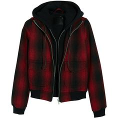 R13 Hooded plaid woven bomber jacket (7.045 ARS) ❤ liked on Polyvore featuring outerwear, jackets, tops, coats, red, slim leather jacket, plaid bomber jacket, hooded leather jacket, hooded jacket and leather jackets