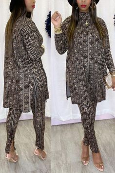 Gold Sweet Print Split Joint Turtleneck Long Sleeve Two Pieces Yellow Fashion, White Fashion, Hot Dress, Jumpsuit Dress, Leaf Skirt, Shoes Wholesale, Wholesale Clothing, Cheap Clothes, Cheap Shoes
