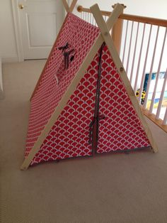 ENCLOSED with WINDOW and pocket Kids A-Frame play tent with designer fabric custom made michael miller to order coral bekko di KateandEmilyDesigns su Etsy https://www.etsy.com/it/listing/193712350/enclosed-with-window-and-pocket-kids-a
