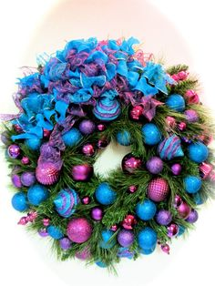 Christmas Wreath Turquoise Blue and Purple by SandyNewhartDesigns, $169.00