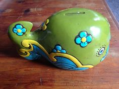 "1960s Pride Creations Wonderful Green ""Whale"" Bank- Excellent Condition Japan #PrideCreations"