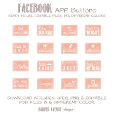 Facebook timeline tab images - App buttons - Social media icon buttons - Watercolor on Etsy, $8.93 CAD