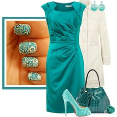 """Teal Nails"" by feelgood35 on Polyvore"