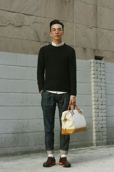 Smart Look - White shirt + Sweater, so classy (korean street style)
