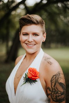 House of Ollichon loves.Bride in jumpsuit at Ranch Austin wedding. Who says boutonnieres are just for men? Lesbian Wedding Photography, Wedding Flower Alternatives, Austin Wedding Venues, Bride Groom Photos, November Wedding, Alternative Wedding, Wedding Photos, Wedding Ideas, Bridal Style