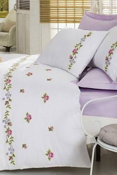 This Pin was discovered by Hat Bed Sheet Curtains, Bed Sheets, Cross Stitching, Cross Stitch Embroidery, Linen Bedding, Bedding Sets, Bed Covers, Pillow Covers, Embroidered Bedding