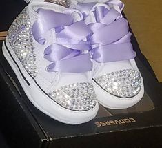 Custom colors. Message me the colors you want. The Rhinestone colors can be changed as well. Please just add the colors you would like in the notes. You will be contacted with an questions. Bedazzled Converse Diy, Bedazzled Shoes, Bling Converse, Baby Converse, Rhinestone Shoes, Bling Shoes, Custom Converse, Baby Crib Shoes, Cute Baby Shoes