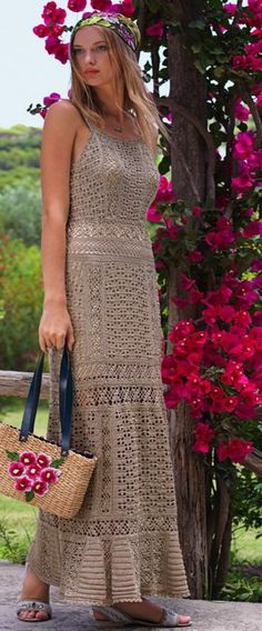 Milky Coffee crochet maxi