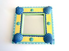 Embellished Picture Frame or mirror turquoise and by ginalimosaics, $25.00