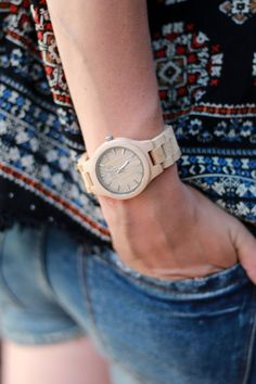 Keeping time and style with a JORD wood watch, denim and embroidered top. #lovesummer
