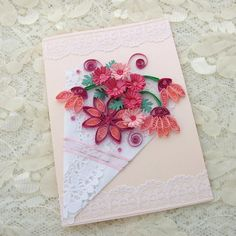 Paper Quilled Greeting Card  Paper Quilling Pink FLOWERS Paper Doily Birthday Congratulations Handmade  by Enchanted Quilling. ---via Etsy.
