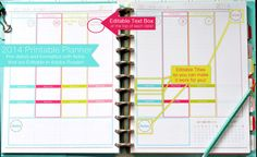 EDITABLE 2013-2014 Printable Daily Planner pdf INSTANT DOWNLOAD- diy/Customize Editable in Adobe Reader