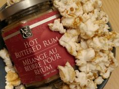My kids are all over this stuff. I think the rum bakes out in the oven, but can one really tell for sure? Here's the recipe, very easy: 6 cups plain popcorn (I use air popped) 2 TBSP Epicure… Epicure Recipes, Rum Recipes, Popcorn Recipes, Snack Recipes, Snacks, Rum Butter, Butter Popcorn, Epicure Steamer, Fast Healthy Meals