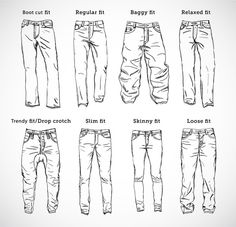 mens different trouser cuts sketches - Google Search