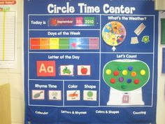 Circle time activity board. I like the part with the gumballs. Each kid, upon arrival, could put a gumball in the jar and then we could count them in circle (before we start name recognition later in the fall)
