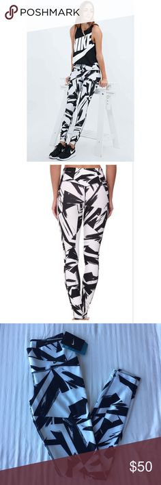 Nike White + Black Printed 2.0 Leggings •White and black printed leggings from Nike.   •88% recycled polyester, 12% spandex.  •Size XS, true to size.  •New with tag.  •NO TRADES/HOLDS/PAYPAL/MERC/VINTED/NONSENSE. Nike Pants Leggings
