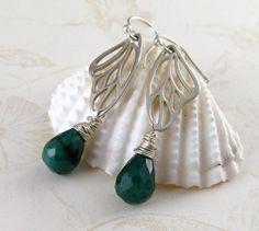 Emerald earrings handmade sterling silver by envydesignsjewelry, $70.00