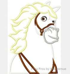 Maximum Horse Punzel Machine Applique Embroidery Design, mutliple sizes, including 4 inch