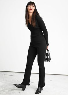 Fitted Rib Knit Trousers - Black - Joggers & Tights - & Other Stories GB