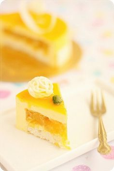Mango Cheese Mousse Cake - like a beautiful, glowing entremet, a composed dessert