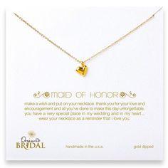 "Dogeared Maid Of Honor 16"" Gold Full Heart Necklace Jewelry | Weddington Way $64"