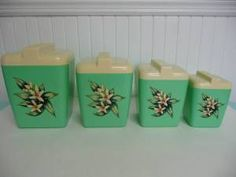 Burroughs Canister Set Green Plastic with Decals, Excellent Condition - Vintage Travel Trailer and Home Decor Vintage Rv, Vintage Green, Vintage Kitchen, Vintage Decor, Vintage Stuff, Coffee Canister, Tea Canisters, Kitchen Canisters, Kitchenware