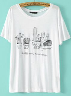 Buy White Short Sleeve Cactus Embroidered T-Shirt from abaday.com, FREE shipping Worldwide - Fashion Clothing, Latest Street Fashion At Abaday.com