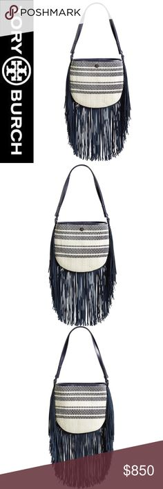 NWT Tory Burch Woven Leather Fringe Hobo Navy/Wht This Tory Burch bag is SO GORGEOUS in person it is KILLING US and KILLING IT at the same time!!! Photos don't do it justice. Sold out everywhere, the Navy-and-white stripes of woven leather lend chic textural detailing to this compact shoulder bag that works with every season. A gilt logo medallion and a swath of sweeping fringe complete the bohemian look. NWT Toggle closure | Interior zip, wall and smartphone pockets | Cotton-canvas lining…